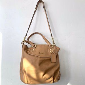 Coach Ashley North South Leather Satchel in Camel